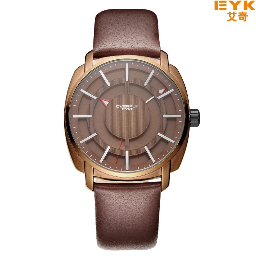 Prix pour Top Marque De Luxe Quartz-montre EYKI Célèbre Marque Quartz Hommes Montres Horloge Bracelet En Cuir Homme Montre-Bracelet Relogio Masculino Reloj