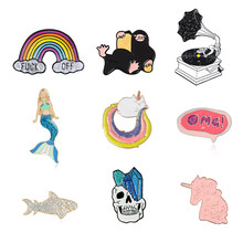 Buling Buling Glinsterende Emaille Pins Collentions Rainbow Mermaid Schedel Skelet Eenhoorn Grammofoon Fish Broches Revers Pin(China)