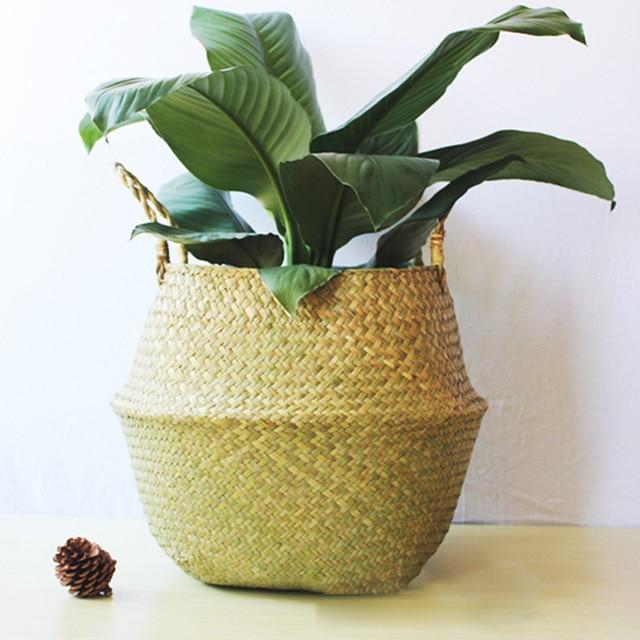 Feitas à mão Cestas De Armazenamento Dobrável cesto de Roupa de Palha Patchwork Rattan De Vime Seagrass Barriga Vaso de Flores Do Jardim Plantador de Cesta de Palha