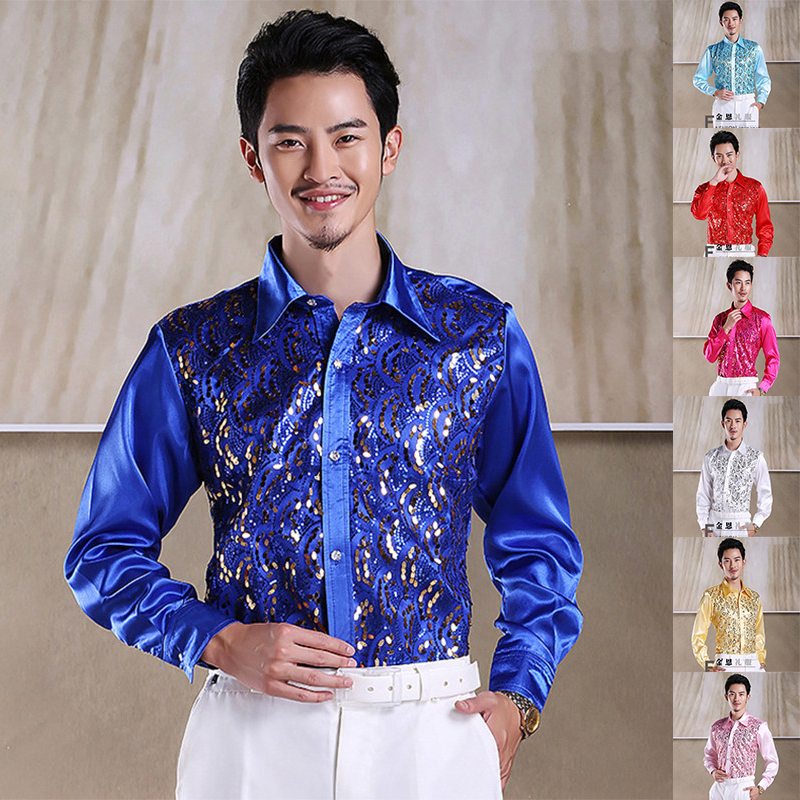 New Mens Glittering Sequined Shirt Stage Performance Clothing Dance Gala Hosted Chorus Shirts New Year Party Skirt High Quality