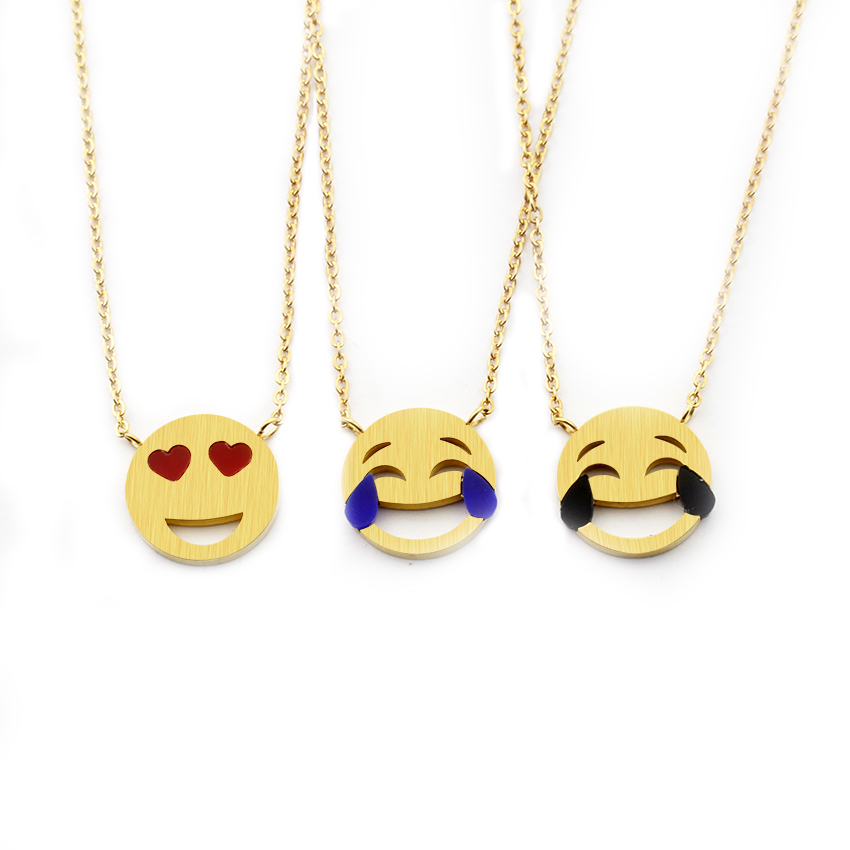 Cute Emoji Charms Pendant Necklace Stainless Steel Chain Cartoon Facial Expression Heart Eyes Smiley Emoticon Women Kids Jewelry