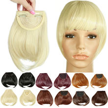 "SNOILITE 8"" Black Brown Blonde Fake Fringe Clip In blunt Bangs Hair Extensions With High Temperature Synthetic Fiber(China)"
