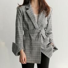 Blazer feminino 2019 new fashion retro plaid office suit blazer women slim temperament jacket