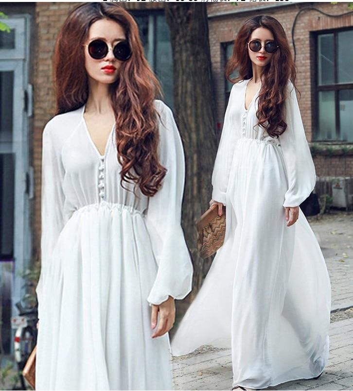 Girls Fairy Chiffon Women White Dresses Long Long Sleeve