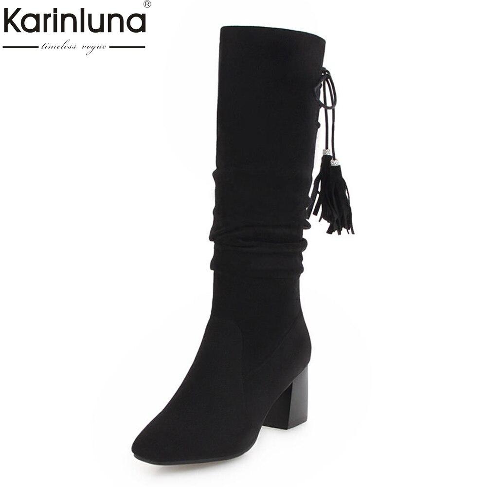 все цены на KarinLuna Fringe Hot Sale Large Size 33-43 Slip On Elegant Shoes Woman Mid Calf Boots high Heels Warm Winter Boots Shoes female