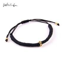 WML Brand Men bead Bracelets Micro Pave Black CZ Braided Macrame European American Weaving Jewelry