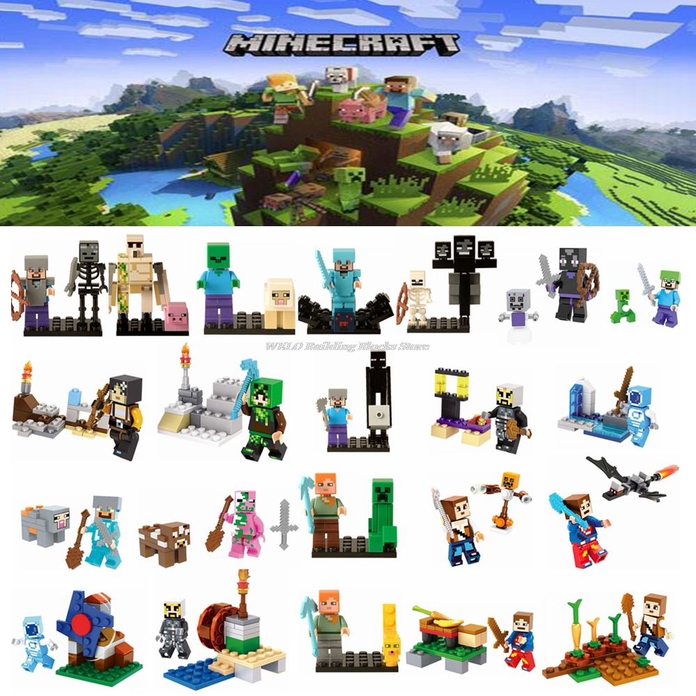 Legoing Minecraft Figures My World Assemble Zombie Steve Assembling Building Block Toy Village Model Blocks Toys For Children In From Hobbies