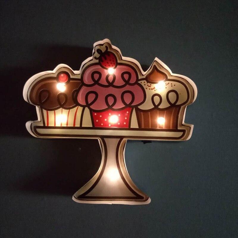 Vintage décor à la maison gâteau Dessert LED enseigne au néon Bar café plaques décoratives publicité enseigne murale en métal étain signe A870