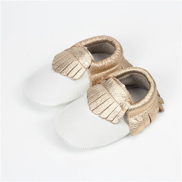 1 Pair Send 5Size Pick White Gold Fringes Infant Shoes Baby Girls Toddler Moccasins Baby Shoes Boots