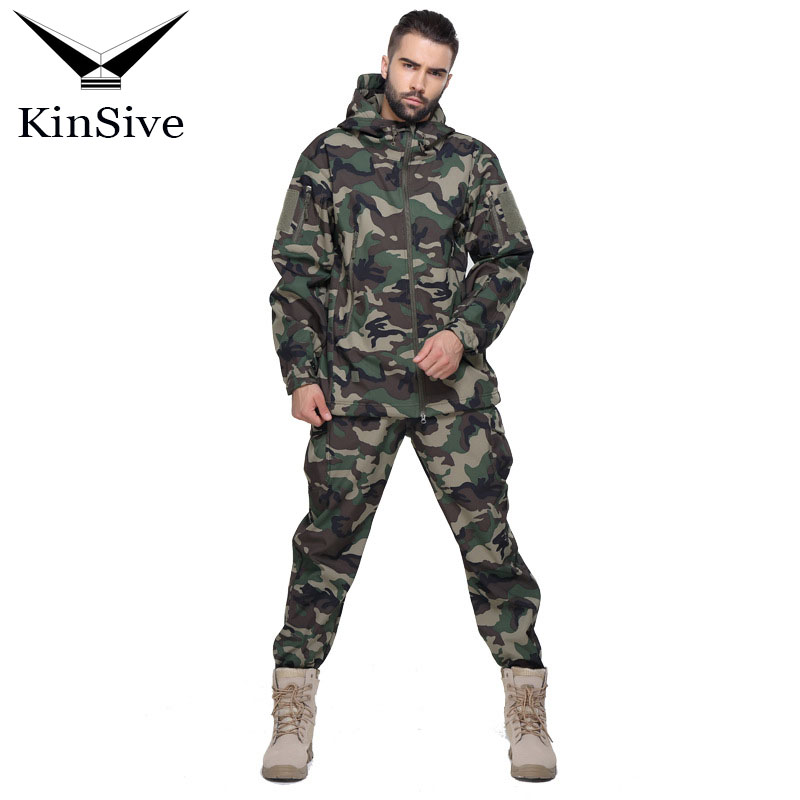 Tactical Softshell Camouflage Suit Men Army Warm Military Uniform Waterproof Windproof Men Clothing Tracksuit Two Piece Sets lurker shark skin soft shell v4 military tactical jacket men waterproof windproof warm coat camouflage hooded camo army clothing