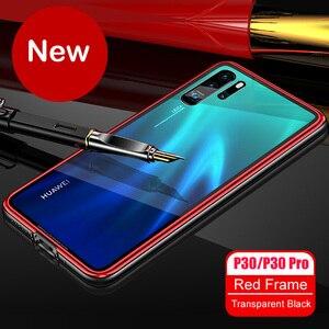 Image 2 - สำหรับ Huawei P30 กรณี P30 Pro กรอบโลหะ + กระจกนิรภัยกรณีที่มีสีสันลื่น P 30 Pro mate 20 pro เปลือกโลหะ