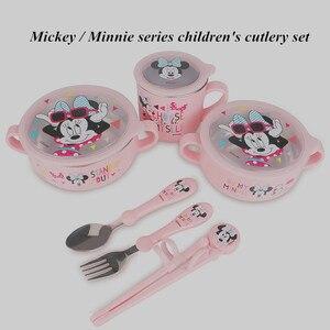 Image 2 - Детский набор посуды disney из 6 предметов, чаша для кормления детей, Микки, Минни, чашка для молока, палочки для еды, ложки и вилки