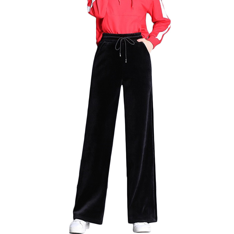 Gold velvet   Wide     leg     Pants   Female Spring Autumn New Plus size   Pants   Women's loose Thin High waist Straight   Pants   Trousers F301