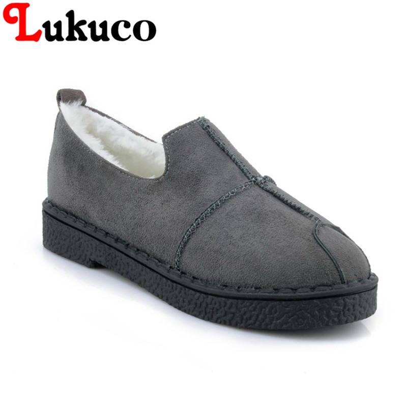 2018 plus size 42 43 44 45 Lukuco LADY SHOES round toe women boots low heel design high quality WARM WINTER shoes FREE SHIPPING