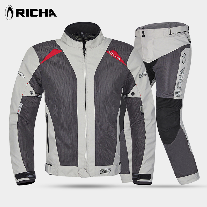 RICHA Motorcycle Jacket Summer Mesh Moto Racing Jacket Motorcycle Protective Clothing Blouson Moto CE APPROVED Black And Gray