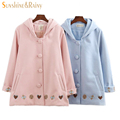 Outono inverno feminino estilo College doce bordado coração botão da buzina casaco com capuz adorável estudantes meninas lindo casaco De Lã quente