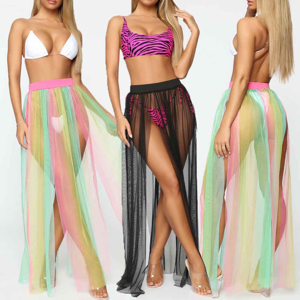 Wanita Seksi Beach Cover Up Pakaian Renang Baju Renang Tipis Sarung Daoble Lama Maxi Gaun Transparan Wanita Musim Panas Pakaian