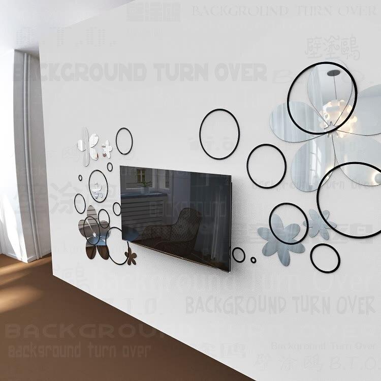 DIY diversos colores de moda creativa primavera círculo naturaleza flor 3D TV de pared adhesivo espejo de pared calcomanía R017 - 5