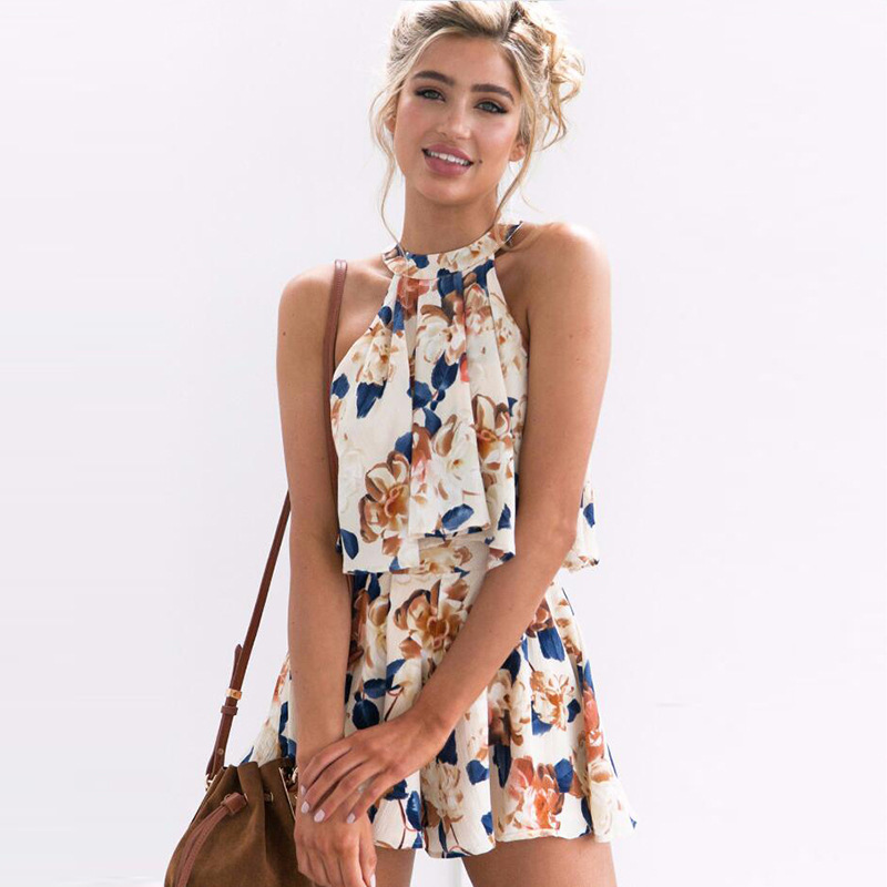 Floral print jumpsuit women Suit tops shorts romper summer bodysuit beach coveralls playsuit female frock 2018 spring new