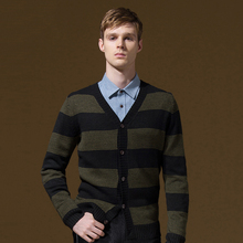 Brand Clothing Sweater Men Slim Single Breasted Thin Striped Cardigan V-Neck Full Sleeve Casual Mens Sweaters Brand-clothing