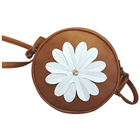 5 Pcs Of 1 Light Brown PU Leather Female Models Retro Fashion Flowers Tassel Small Round