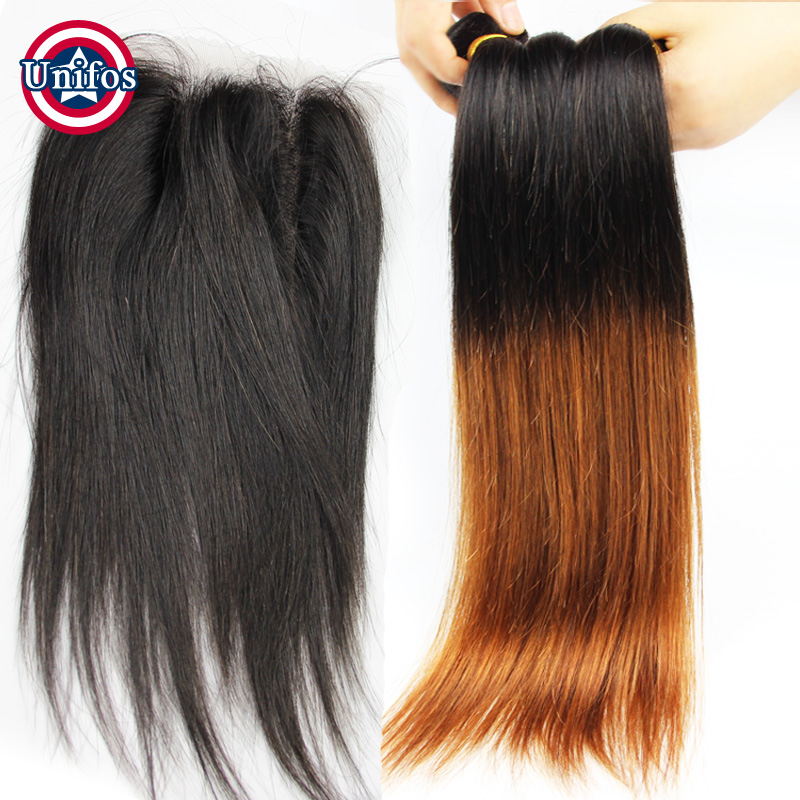 Ombre Peruvian Hair Straight Ombre Hair With Closure 3 Bundles 1b30 Two Tone Ombre Brown Hair Bundles With Lace Closure Straight