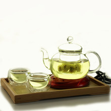O.RoseLif 1 *Heat-resistant Glass Pot+ 2* Double-wall Cups + 1* Tea Tray