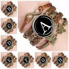 26 Initial Letters Alphabet Rope Bracelet Men Women Personalized Name Infinity Multilayer Braided Bracelet Gift for Lovers цена