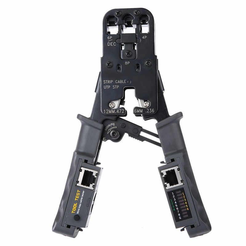 2 で 1 RJ45 ネットワーク LAN ケーブル圧着工具プライヤー切削工具ケーブルテスターケーブルプライヤー 6 P/8 1080P ワイヤーカッターツールテスト圧着プライヤー