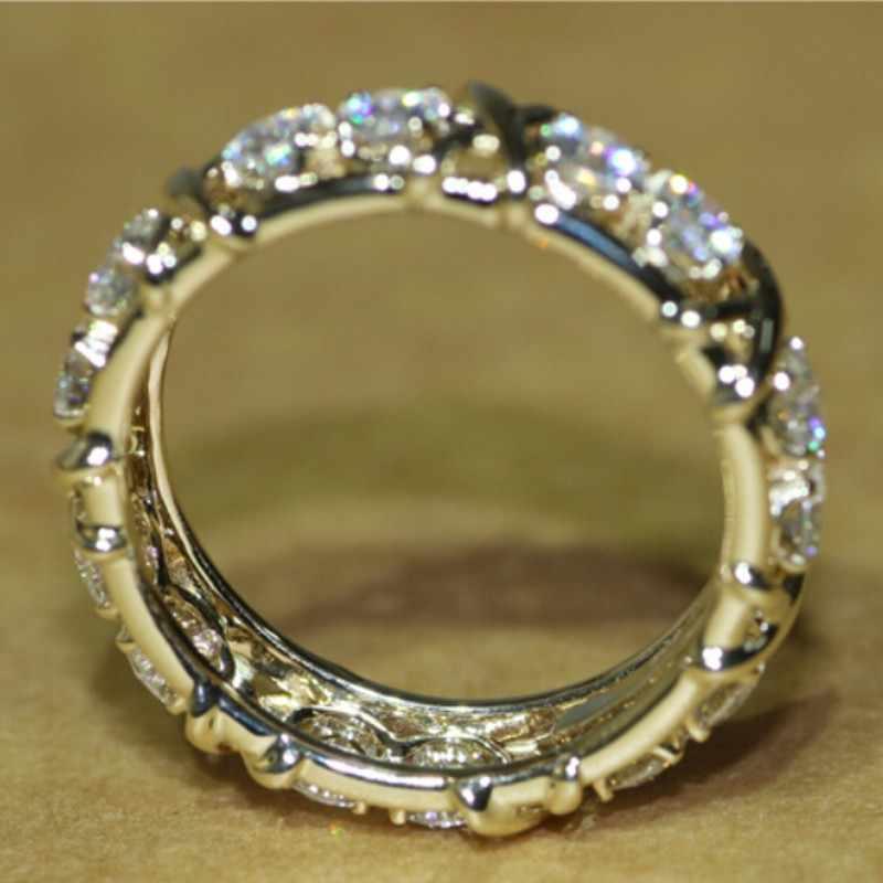 Elegant หญิงข้ามแหวน 24KT สีเหลืองทอง AAAAA Zircon CZ แหวนแต่งงานแหวนผู้ชาย Statement เครื่องประดับ