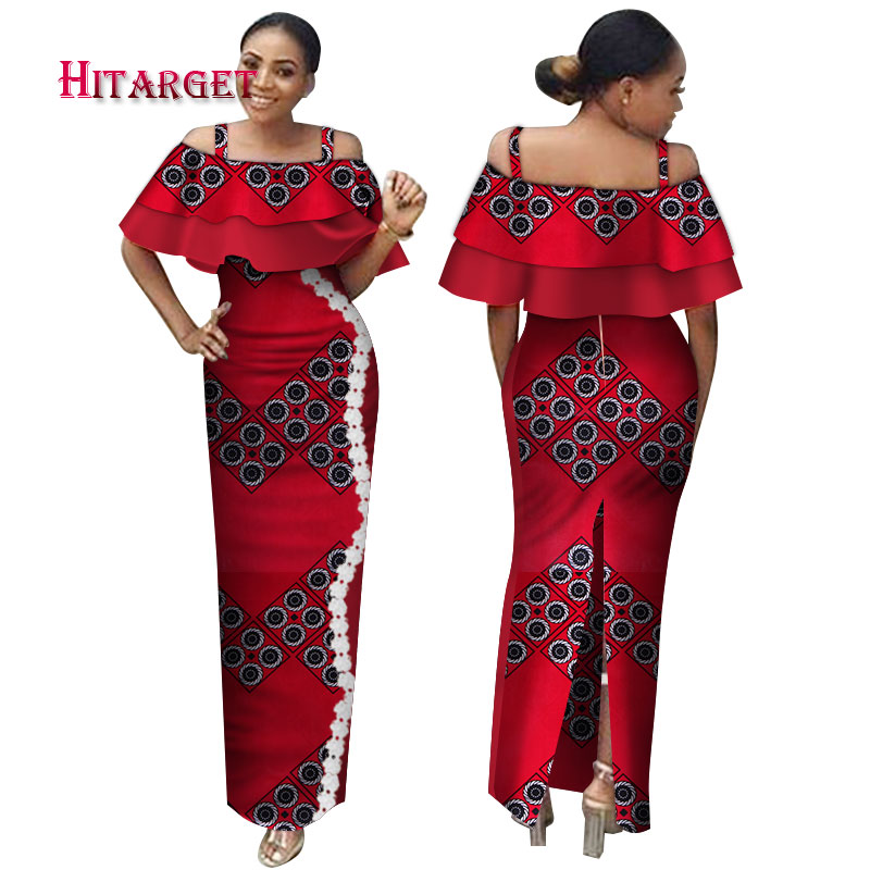 Fashion  African Dresses for Women Bazin Riche Sexy Slash-Neck Lace Splice Long Dresses Ankara african print dresses  WY3170