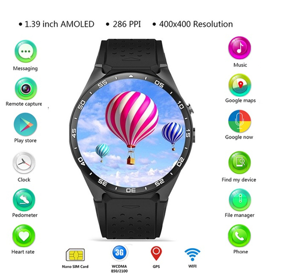 696 Original KingWear KW88 Android 5.1 1,39 ''Bildschirm 3g Smartwatch Telefon MTK6580 512 mb 4 gb GPS Pedometer Smart uhr Männer