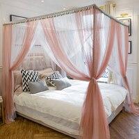 Нефритовый цвет/белый роскошный романтический трехдверный двуспальная кровать москитная сетка есть кадр полный queen King Размеры украшения д
