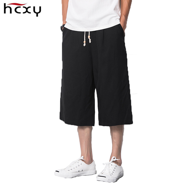 fa65aac44df calf-length Men s pants loose wide leg pants casual summer style linen  trousers dark gray cotton fabric casual pants for men
