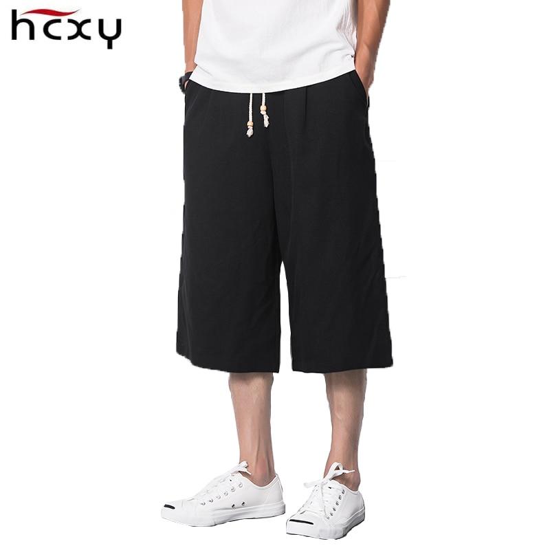 Мужская щиколотки брюки свободные широкие брюки ноги случайный летом стиль льняные брюки темно-серые хлопчатобумажные ткани