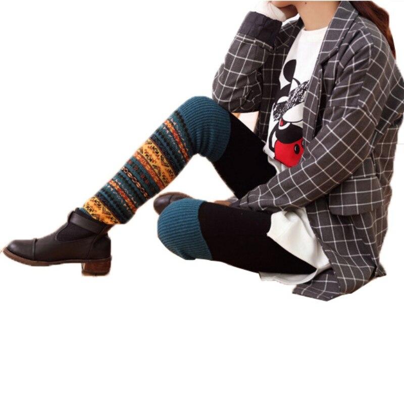 WEIXINBUY Women Winter Elegant Over Knee Long  Knit cover Patchwork Colorful Ladies Crochet Vintage Leg Warmers Legging Chic HTB1OG10bzgy uJjSZJnq6zuOXXaV
