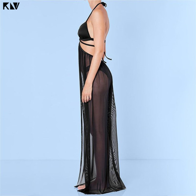 KLV Women Summer Bandage Mesh Sheer  Maxi Beach Skirt Solid Color Open Front Bikini Swimsuit Cover Up Split Wrapped Sarong 4