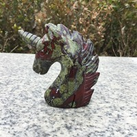 Natural Rock crystal figurine polished hand carved Dragon Blood Stone unicorn statue