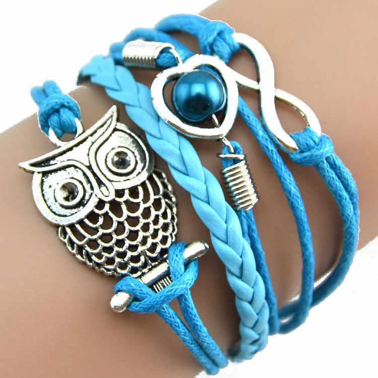 HOT marka moda mężczyzna kobiet dziewczyny kryształ Big Blue Eyed Owl wisiorek z długim łańcuszkiem sweter płaszcz naszyjnik 1035 #1