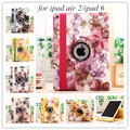 New fashion lucky sweet flower girl's 360 rotating PU leather case cover stand for Apple iPad air2/6 case