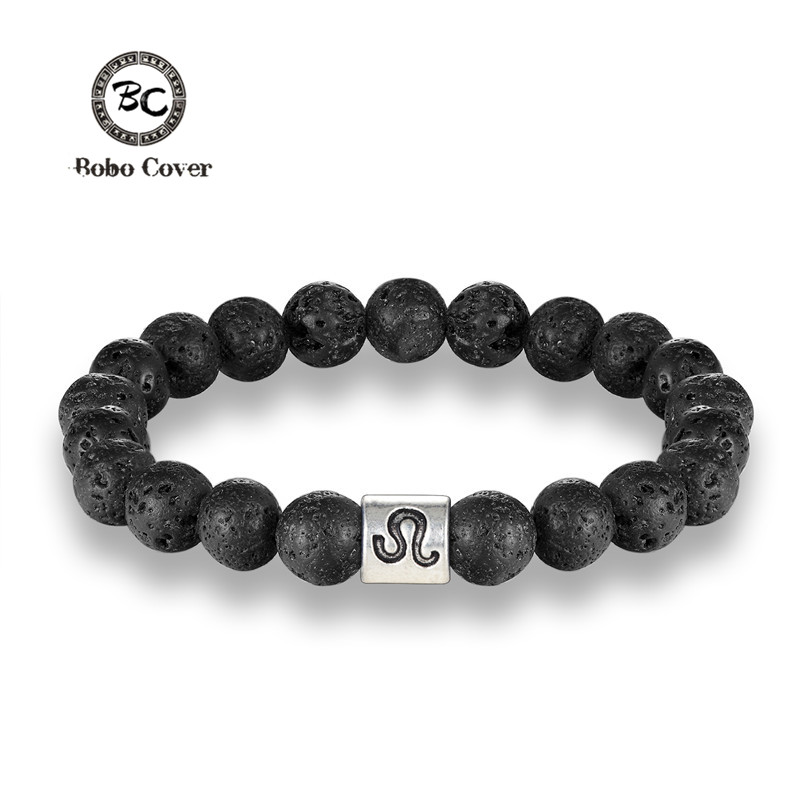 BOBO Cover 12 Zodiac Signs 8mm Beads Bracelets Handmade Vintage Lava Stone Beads Elastic Bracelets Jewelry For Men Women Jewelry
