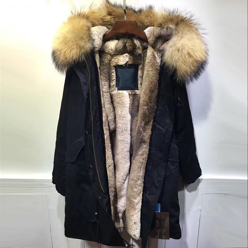 Noir longue fourrure parka, naturel fourrure de raton laveur hoodies casual faux de fourrure de lapin bordée m. et mme vêtements d'hiver