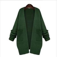 Casual Long Knitted Cardigan Spring Korean Women Loose Solid Color Pocket Design Sweater Jacket Green Black