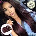 Burgundy Weave Brazilian Virgin Hair With Closer Straight 4Pcs Human Hair Extensions 99J Red Wine Hair Weaves Cheap Brazilian