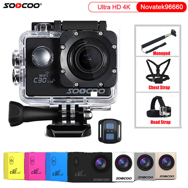 Original SOOCOO C30 / C30R Action Camera 4K Wifi Sport DV 2.0 inch LCD Gyro Diving 1080P HD Waterproof 30m Sports Cam NTK96660 soocoo c30 sports action camera wifi 4k gyro 2 0 lcd ntk96660 30m waterproof adjustable viewing angles