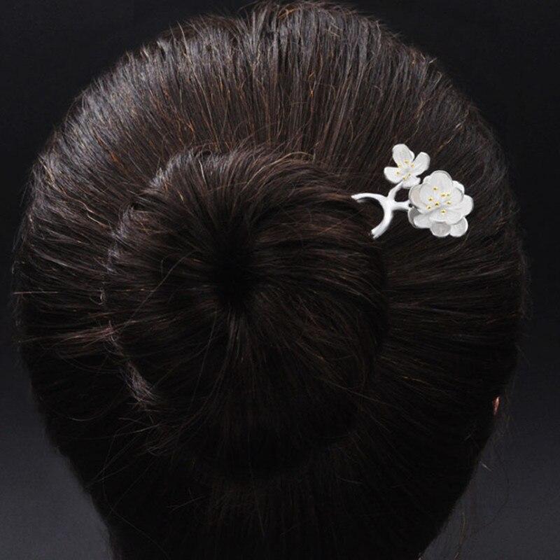 925 en argent Sterling épingle à cheveux faux fleurs chinois à la main bijoux ethniques épingles à cheveux boîte cadeau femmes bâton de cheveux - 2