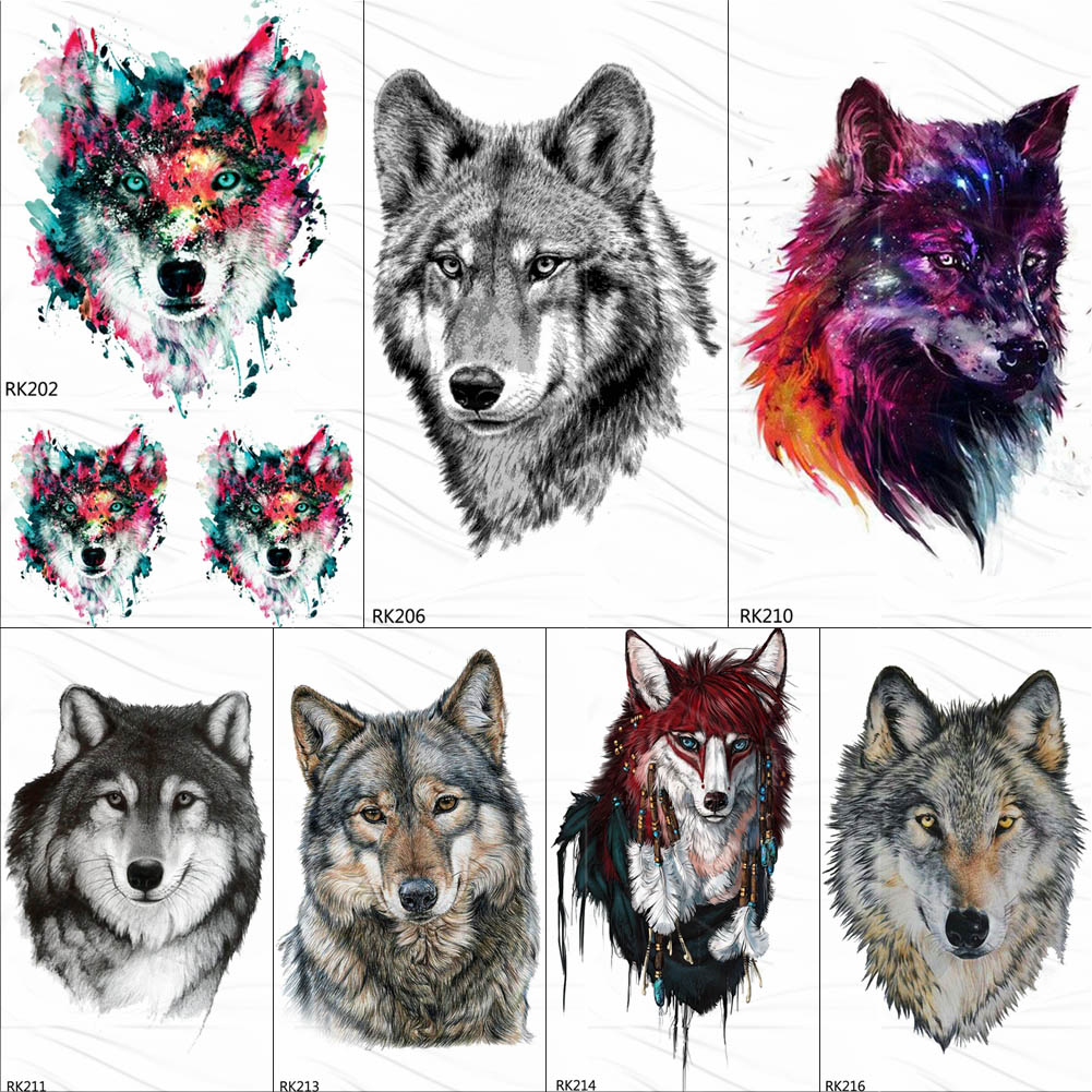 OMMGO Wolf King Galaxy Universe Temporary Tattoo Sticker Waterproof Fake Tattoos For Men Women Custom Tatoos Body Art Armband