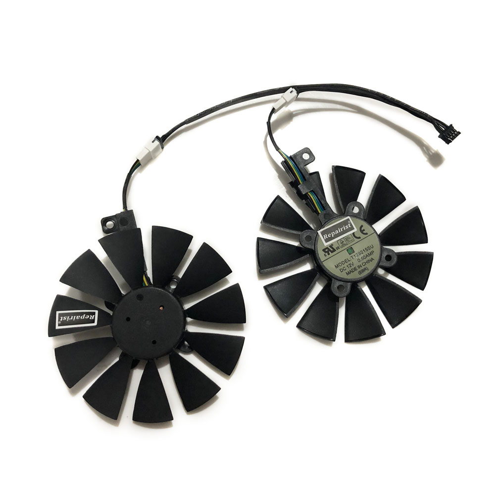 2pcs/set 87mm T129215SU EX-RX 570 GTX 1070/1060 DUAL GPU Cooler Fan For ASUS AREZ-EX-RX570-8G/4G Video Graphics Card Cooling t129215su gpu vga cooler video card fan for radeon sapphire rx570 rx 570 rx470d 4g d5 itx graphics card cooling as replacement