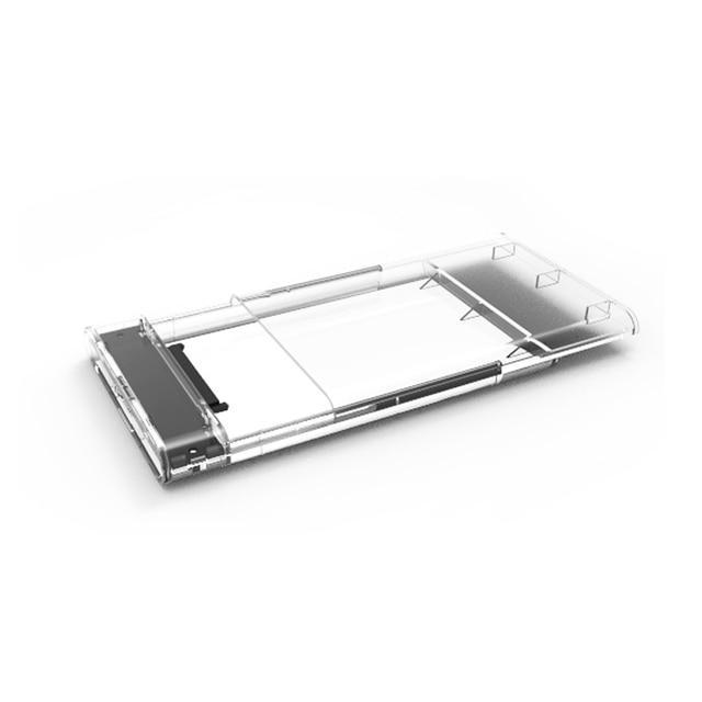 """صندوق الأقراص الصلبة المحمولة 2.5 """"SATA إلى USB 3.0 محول شفاف القرص الصلب الضميمة لحقيبة الأقراص الصلبة القرص الصلب SSD الخارجية"""
