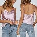夏カジュアルキャミソールストラップベストトップ Tシャツ V ネックの女性ベスト女性イミテーションシルクシャツの女性の服 W3